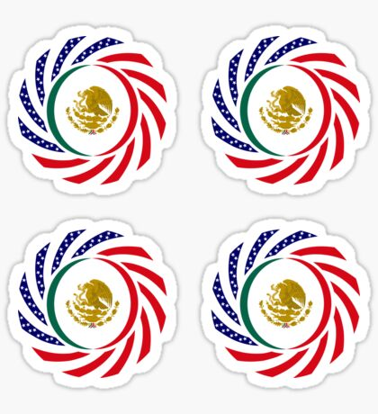 Mexican American Multinational Patriot Flag Series Glossy Sticker