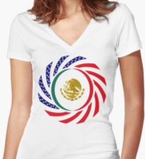 Mexican American Multinational Patriot Flag Series 1.0 Women's Fitted V-Neck T-Shirt