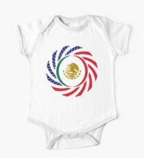 Mexican American Multinational Patriot Flag Series 1.0 Short Sleeve Baby One-Piece