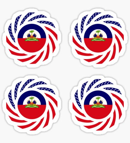 Haitian American Multinational Patriot Flag Series Glossy Sticker