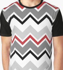 Chevron Red Grey Black Zigzag Pattern Graphic T-Shirt