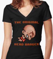 Bonk's Adventure original head banger Women's Fitted V-Neck T-Shirt