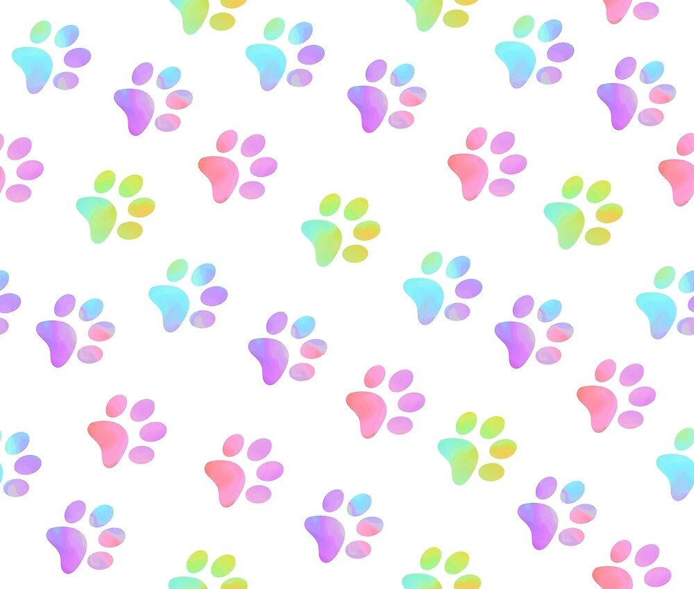 Pastel Rainbow Paw Prints by FaithAndForest