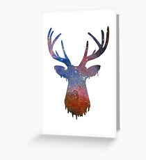Space and deer modern poster Greeting Card