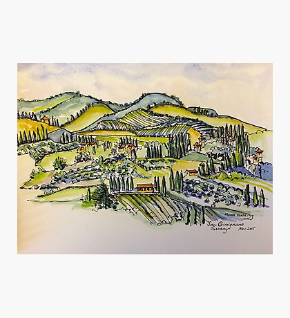 San Gimignano Italy 2015 pen and wash  Photographic Print