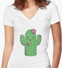Mrs J.G Cactus (sky) Women's Fitted V-Neck T-Shirt