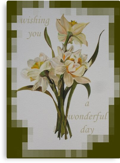 Wishing You A Wonderful Day Double Narcissi In A Bouquet by taiche