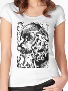 Cute Black and White Puppy Women's Fitted Scoop T-Shirt