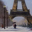 Eiffel tower in the snow by Dan Wagner
