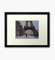 Eiffel tower in the snow Framed Print