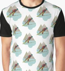 Skijumper with Mountains Graphic T-Shirt