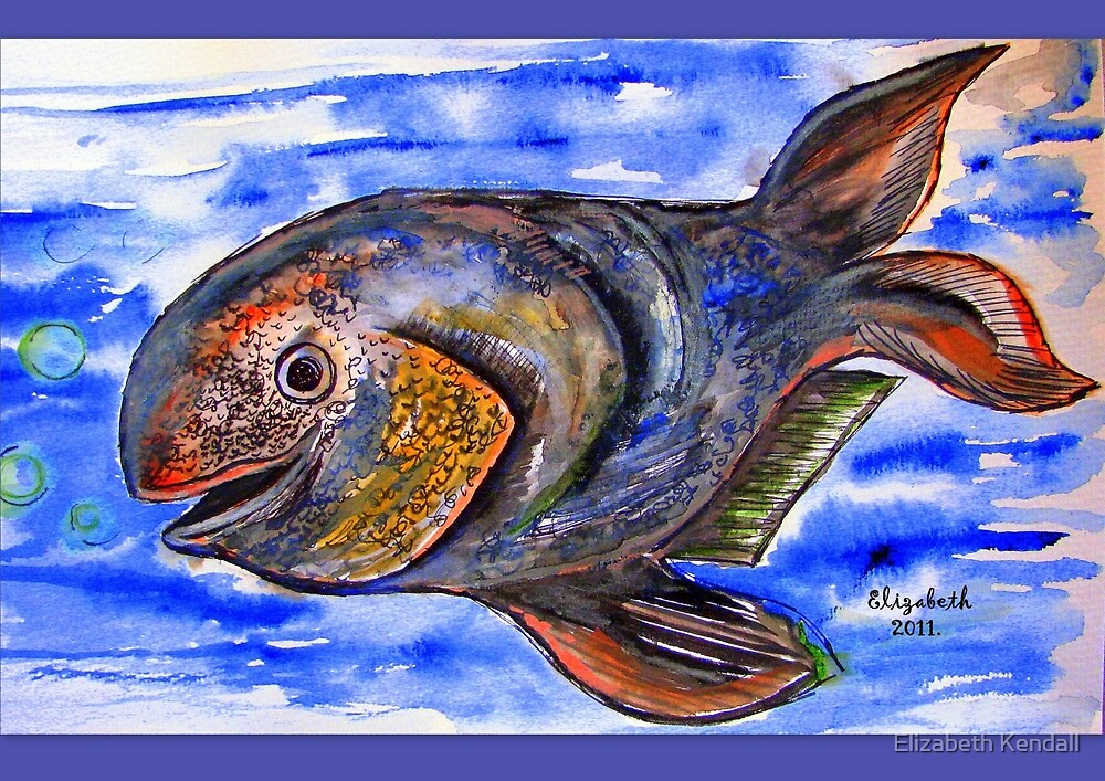 A gouache fish in blue water by Elizabeth Kendall
