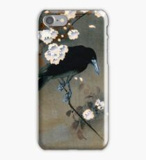 Vintage Japanese Crow and Blossom Woodblock Print iPhone Case/Skin