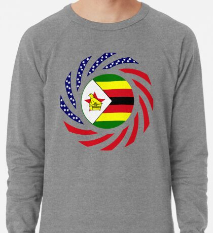 Zimbabwean American Multinational Patriot Flag Series Lightweight Sweatshirt