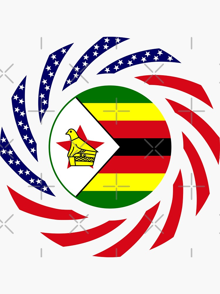 Zimbabwean American Multinational Patriot Flag Series by carbonfibreme