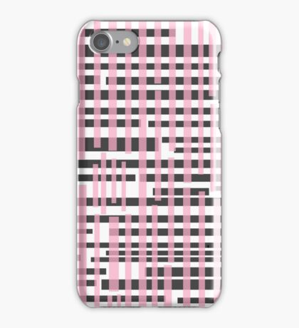 Pink and black crosshatch iPhone Case/Skin
