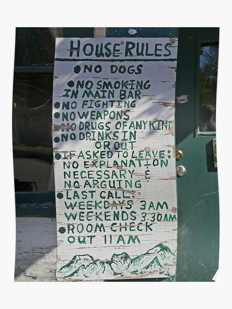 House rules, Fairview Inn, Talkeetna, Alaska | Poster
