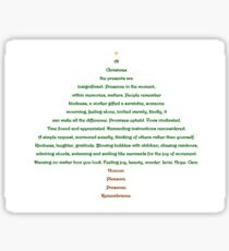 Christmas Tree Shape Poem Sticker