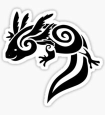Black Tribal Axolotl Mexican Salamander Sticker