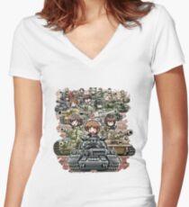 Girls und Panzer Crew Women's Fitted V-Neck T-Shirt