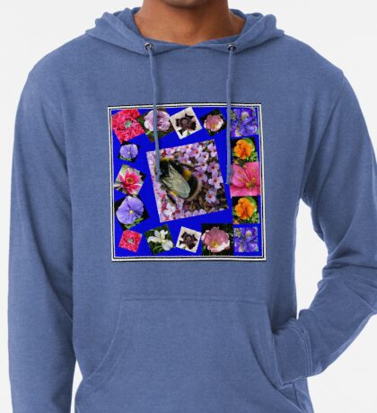 Honey Bee and Summer Flowers Collage Leichter Hoodie