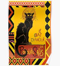 Le Chat D'Amour With Ethnic Coloured Border Poster