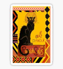 Le Chat D'Amour With Ethnic Coloured Border Sticker