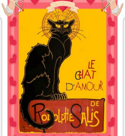 Le Chat D'Amour With Heart And Cherub Border Sticker