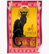 Le Chat D'Amour With Heart And Cherub Border Poster