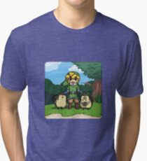 Legend of Zelda Skyward Sword: Link and Kikwis Tri-blend T-Shirt