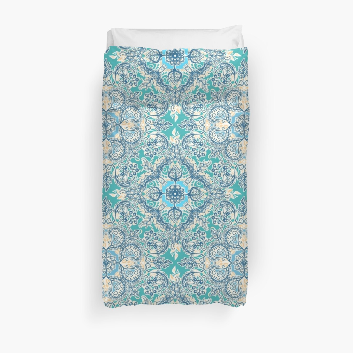 Quot Gypsy Floral In Teal Amp Blue Quot Duvet Covers By Micklyn