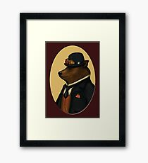 Bear in bowler hat Framed Print
