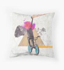 Rainbow child riding a bike Throw Pillow