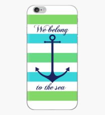 Blue anchor on blue and green navy stripes marine style iPhone Case