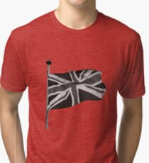 Great Britain flag, union jack Black & White Tri-blend T-Shirt