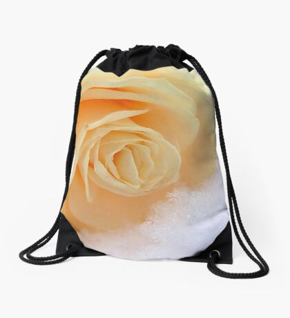A rose on my heart has melted the snow Drawstring Bag