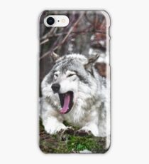 Just Yawning - Timber Wolf iPhone Case/Skin