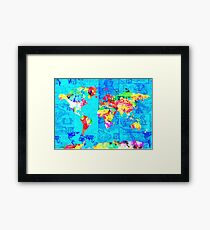world map collage Framed Print