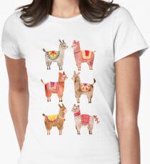 Alpakas Tailliertes T-Shirt für Frauen