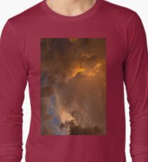 Storm Clouds Sunset - Dramatic Oranges - a Vertical View Long Sleeve T-Shirt