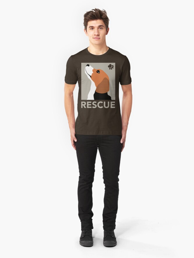 Alternate view of Rescue (Beagle) Slim Fit T-Shirt
