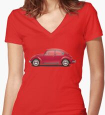 1968 Volkswagen Beetle Sedan - Royal Red Women's Fitted V-Neck T-Shirt