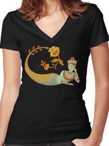 Flower Devi Green Goddess Women's Fitted V-Neck T-Shirt