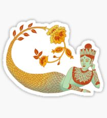 Flower Devi Green Goddess Sticker