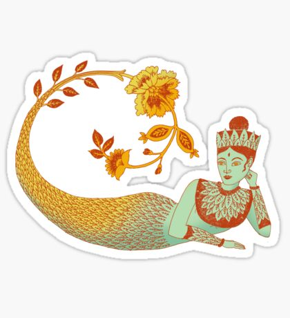 Flower Devi Green Goddess Sticker