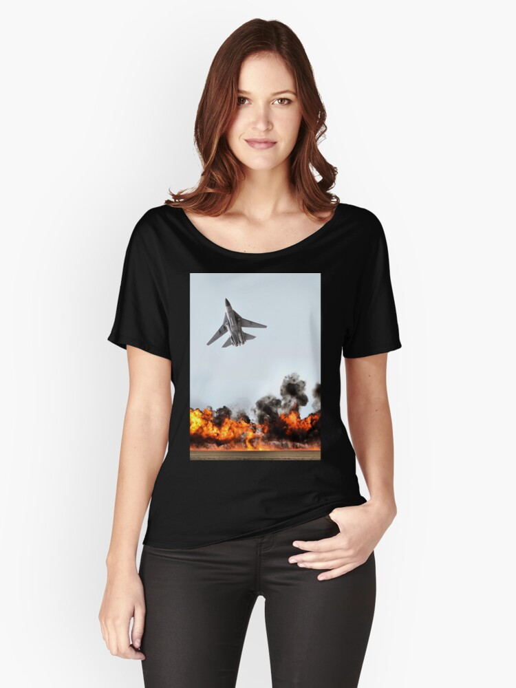 F111 with Fire, Adelaide Air Show  Women's Relaxed Fit T-Shirt Front