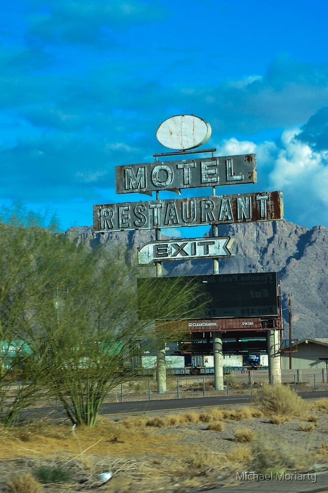 Motel Restaurant Exit Old Beat up Sign by Michael Moriarty