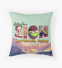 Greetings from Zion National Park Throw Pillow