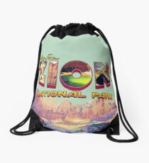 Greetings from Zion National Park Drawstring Bag