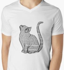 books and cats and books and cats Men's V-Neck T-Shirt